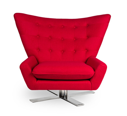 Red VINGS armchair - wool, chrome base