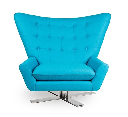 VINGS turquoise armchair - wool, chrome base