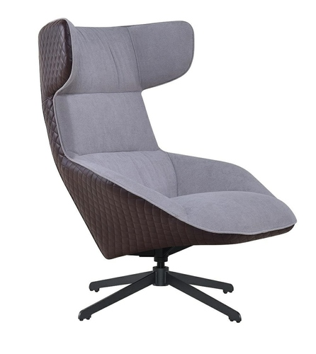 VITA gray armchair - brown - fabric, eco-leather, metal