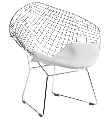 VOLIER SOFT chrome armchair - white cushion