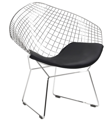 VOLIER SOFT chrome armchair - black cushion