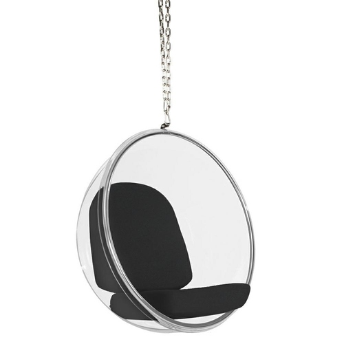 BUBBLE hanging chair, black cushion - acrylic body, wool cushion