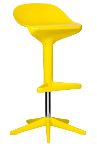 Stool BENT yellow - height adjustable, polypropylene