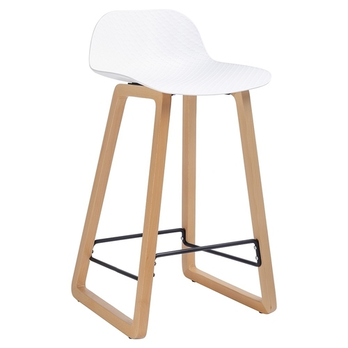 LOTUS white stool - beech base