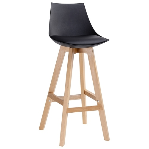 Black SLIM stool - polypropylene, eco-leather, wood