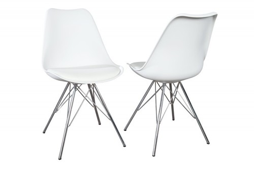 INVICTA HUGO white chair - chrome base