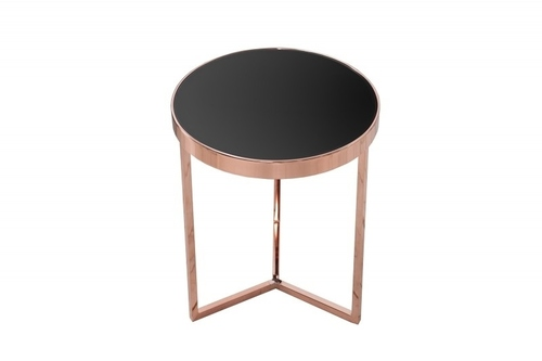 INVICTA table ART DECO 50 cm, copper - glass, metal