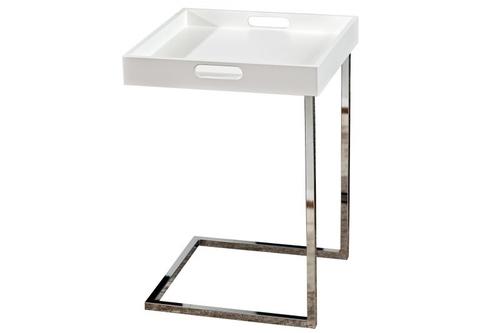 INVICTA CIANO table white - removable top, chrome