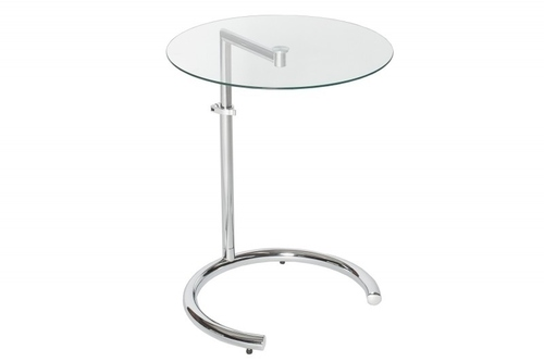 INVICTA EFFECT table with height adjustment - chrome, tempered glass