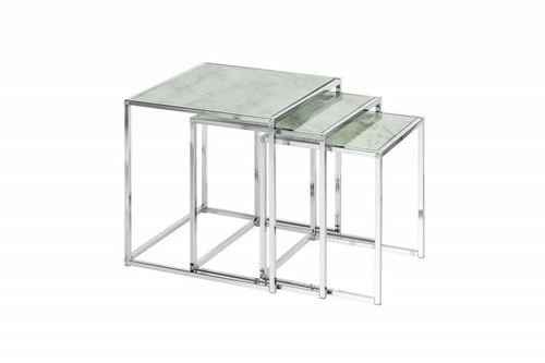 INVICTA A set of ELEMENTS tables, glass - marble imitation
