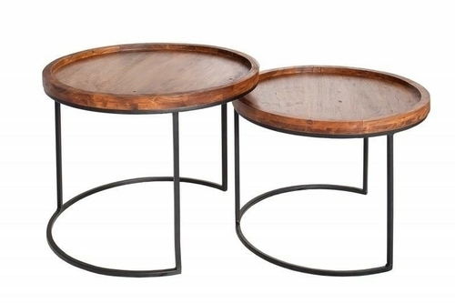 INVICTA a set of MAKASSAR tables - solid acacia wood, metal base