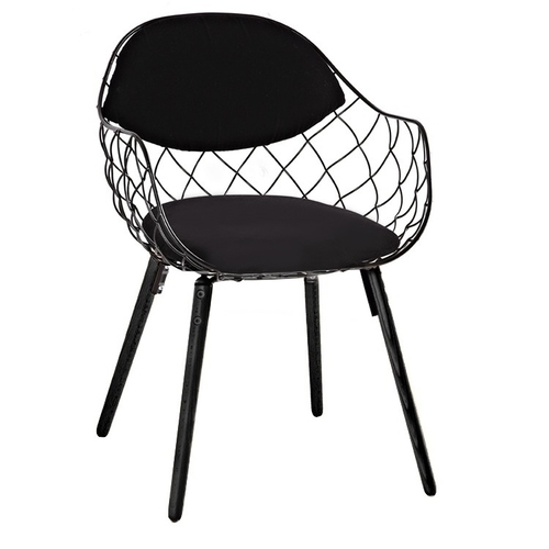 DEMON black chair - metal, eco-leather, wooden base