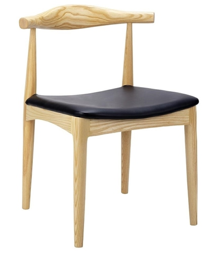 Natural ELBOW chair - ash wood, black eco-leather
