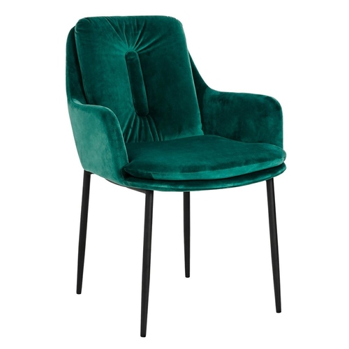 GRANT green chair II QUALITY - velor, black and gold base