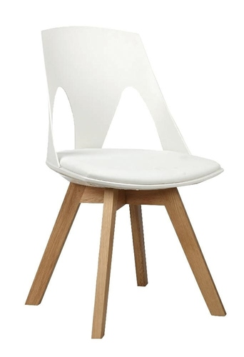 HOLEY white chair with a white pillow - oak base