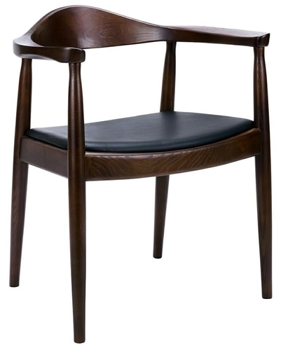 Dark brown KENNEDY chair - ash wood, eco-leather