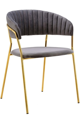 MARGO dark gray chair - velor, gold base