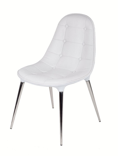 Chair PASSION eco-leather all white - glass fiber, chrome legs