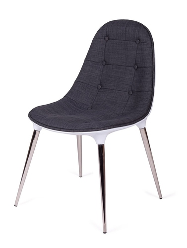 PASSION chair in gray and white fabric - glass fiber, chrome legs