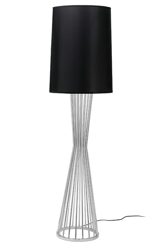 HOLMES chrome floor lamp with a black shade - metal