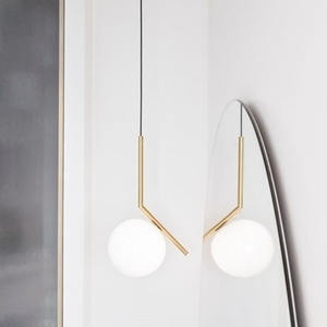Hanging lamp HALM 30 - brass, glass small 8