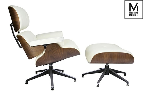 MODESTO LOUNGE armchair with a white footrest - plywood, ecological leather