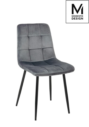 MODESTO chair CARLO dark gray - velor, metal