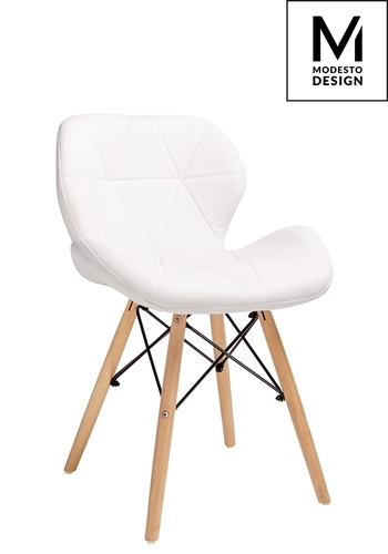 MODESTO chair KLIPP white - eco-leather, beech base