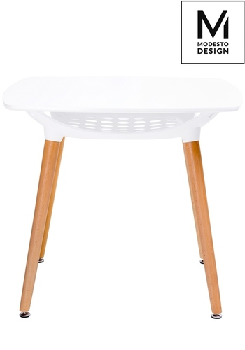 MODESTO table HIDE SQUARE white - MDF top, wooden base