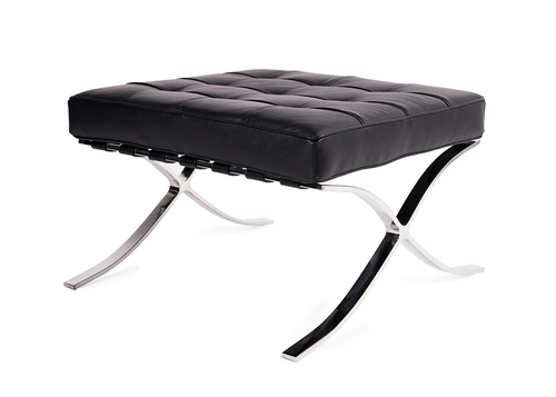 BARCELON PRESTIGE PLUS footstool black - selected Italian leather, polished steel