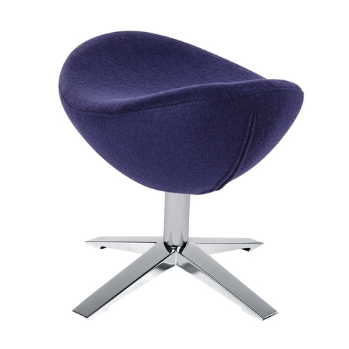 Footstool EGG WIDE dark violet 25 - wool, steel