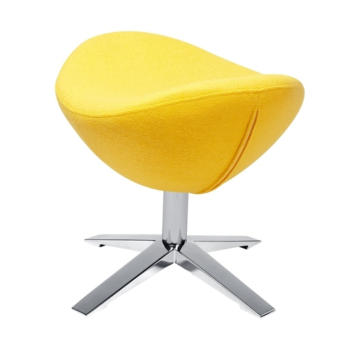 Footstool EGG WIDE yellow.5 - wool, steel