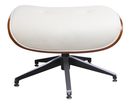 LOUNGE footstool white, walnut plywood - natural leather
