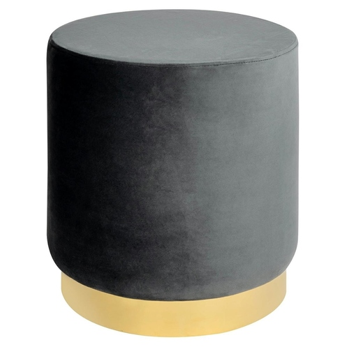 Dark gray MARGO pouffe - velor, gold base