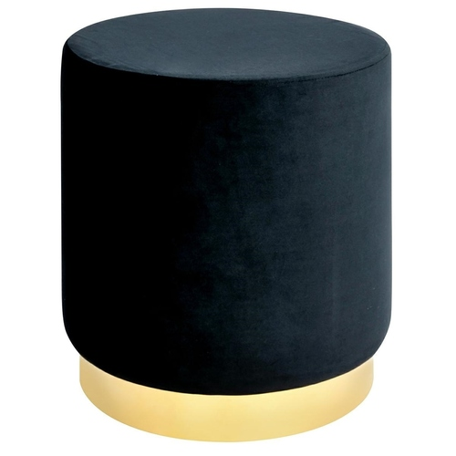 Black MARGO pouf - velor, gold base