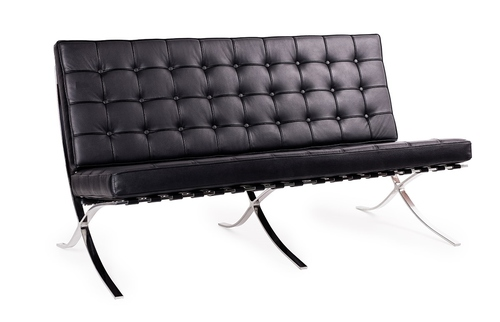 BARCELON sofa black - natural leather, polished steel