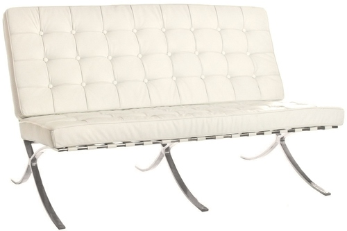BARCELON PRESTIGE PLUS sofa white - Italian natural leather, polished steel