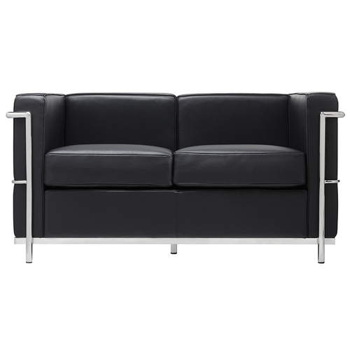 2-seater sofa SOFT LC2 black - Italian natural leather, metal