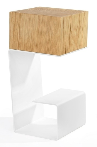 White table EGON - oak top, metal base