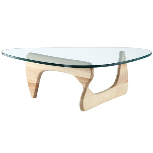 STABLE table - transparent glass, wooden base