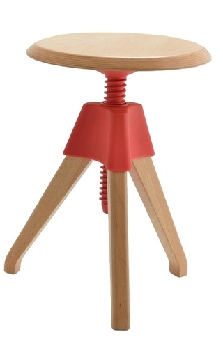 Red JERRY stool - polypropylene, wood