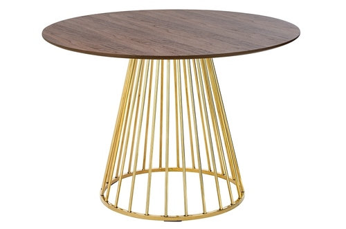 GLAM WALNUT table - walnut veneer, golden base
