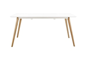 NORD MOVE 160-200 folding table white - MDF top, oak legs small 1