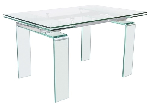 Glass table ATLANTIS CLEAR 200/300 - extendable, transparent glass