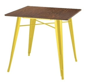 TOWER WOOD yellow table - antique pine / metal top small 0