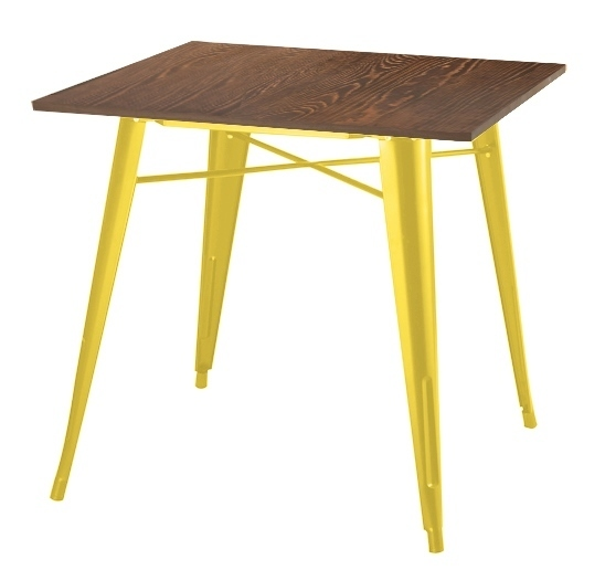 TOWER WOOD yellow table - antique pine / metal top