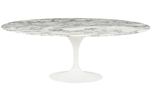 TULIP ELLIPSE MARBLE ARABESCATO table - white - oval marble top, metal