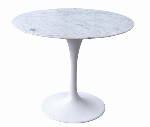 TULIP MARBLE 90 CARARRA table white - round marble top, metal