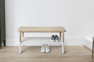 UMBRA bench PROMENADE white - wood, metal small 2
