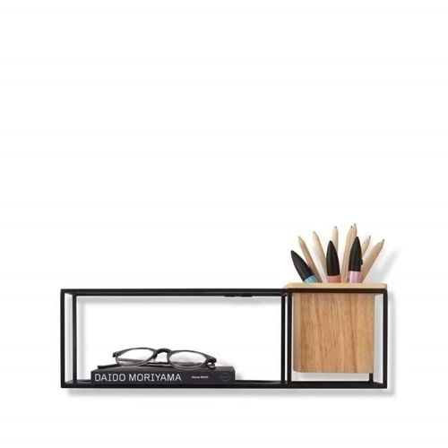 UMBRA shelf CUBIST SMALL black - metal, wood